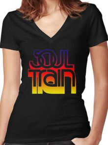SOUL TRAIN (SUNSET) Women's Fitted V-Neck T-Shirt