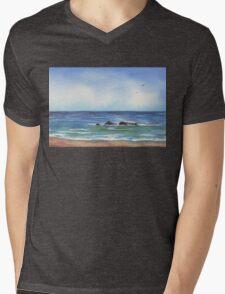 Seascape With Three Rocks Beach Art Mens V-Neck T-Shirt