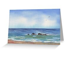 Seascape With Three Rocks Beach Art Greeting Card