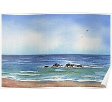 Seascape With Three Rocks Beach Art Poster