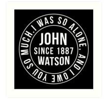 John Watson Typography (Sherlock) Art Print