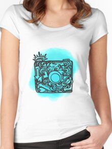 Camera Doodle With Watercolor Background Women's Fitted Scoop T-Shirt