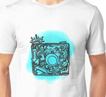Camera Doodle With Watercolor Background Unisex T-Shirt
