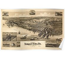 Vintage Pictorial Map of Newport News VA (1891) Poster