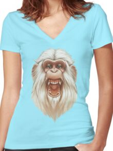 The White Angry Monkey Women's Fitted V-Neck T-Shirt