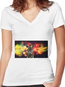 Zebra Bokeh Art Women's Fitted V-Neck T-Shirt
