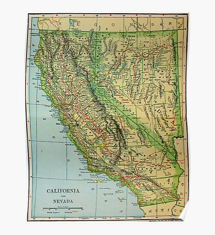 Vintage Map of California and Nevada (1905) Poster