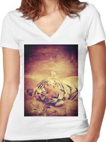 Vintage Tiger Women's Fitted V-Neck T-Shirt