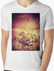 Vintage Tiger Mens V-Neck T-Shirt