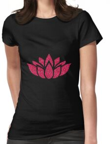 Pink Glitter Lotus Flower Womens Fitted T-Shirt