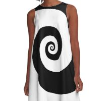 Black and white spiral A-Line Dress