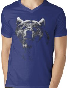 bear black shirt Mens V-Neck T-Shirt