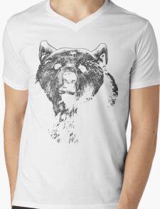 bear black shirt Mens V-Neck T-Shirt