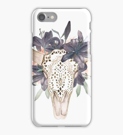 Watercolor skull in flowers iPhone Case/Skin