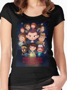 Stranger Things Cartoon Women's Fitted Scoop T-Shirt