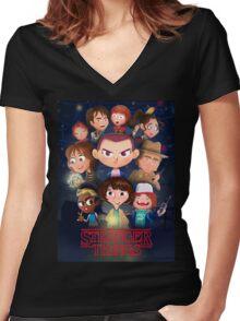Stranger Things Cartoon Women's Fitted V-Neck T-Shirt