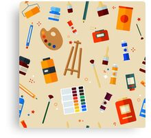 Tools and Materials for Creativity and Painting Seamless Pattern Canvas Print