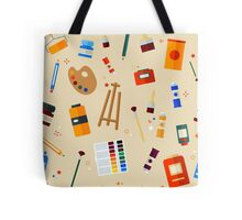 Tools and Materials for Creativity and Painting Seamless Pattern Tote Bag