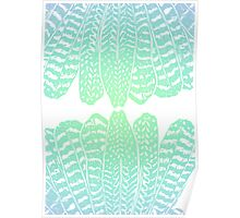 Tribal Feathers Seafoam Poster