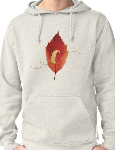 Autumn/Fall Leaf Initial Monogram C Pullover Hoodie