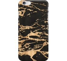 Black marble with heavy gold streaks iPhone Case/Skin