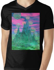 Poetic Mountain at Dawn, Glorious Pink Green Sky Mens V-Neck T-Shirt
