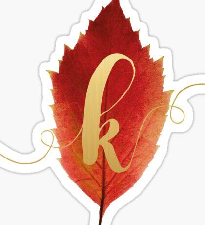 Autumn/Fall Leaf Initial Monogram K Sticker