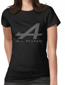 Alpine Alphabet Logo WHT Distressed Womens Fitted T-Shirt