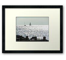 ships at sea Framed Print