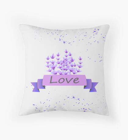 Lavender pattern. Vector stock. Throw Pillow