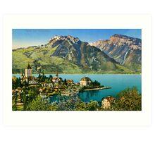 1900s Switzerland Swiss Alps Spiez mit Ralligstoecke Art Print