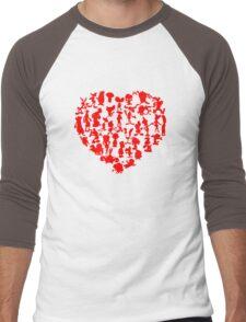 I Love Cartoons Men's Baseball ¾ T-Shirt