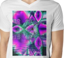 Teal Violet Crystal Palace, Abstract Fractal Cosmic Heart Mens V-Neck T-Shirt