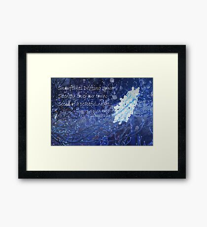 snowflake in blue 7 haiku with texture Framed Print