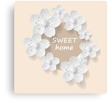 Flower paper frame. Sweet home. Canvas Print