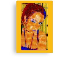 Women, abstract, yellow, red and blue contrast art Canvas Print