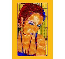 Women, abstract, yellow, red and blue contrast art Photographic Print