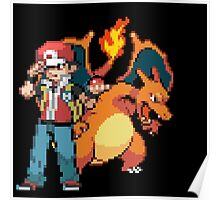 Red and Charizard Poster