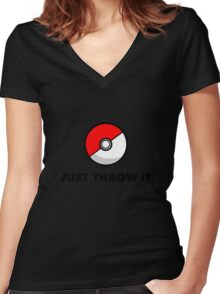 Pokemon Go Pokeballs - Just Throw It Women's Fitted V-Neck T-Shirt