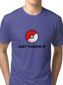 Pokemon Go Pokeballs - Just Throw It Tri-blend T-Shirt