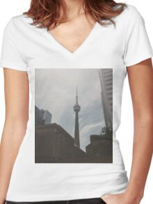 CN Tower Women's Fitted V-Neck T-Shirt