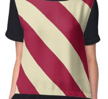 Bloomington Indiana Crimson and Cream Sports Stripes Chiffon Top