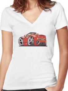 Ferrari California Caricature Women's Fitted V-Neck T-Shirt