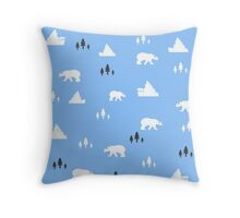 White bear pattern Throw Pillow