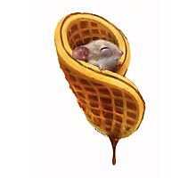 Mouse In A Waffle Photographic Print