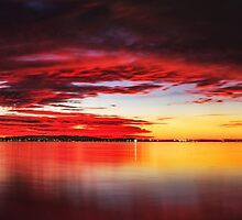 Red sky at Night - Wellington Point Qld Australia by Beth  Wode