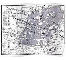 Vintage Map of Nuremberg Germany (1858) Poster