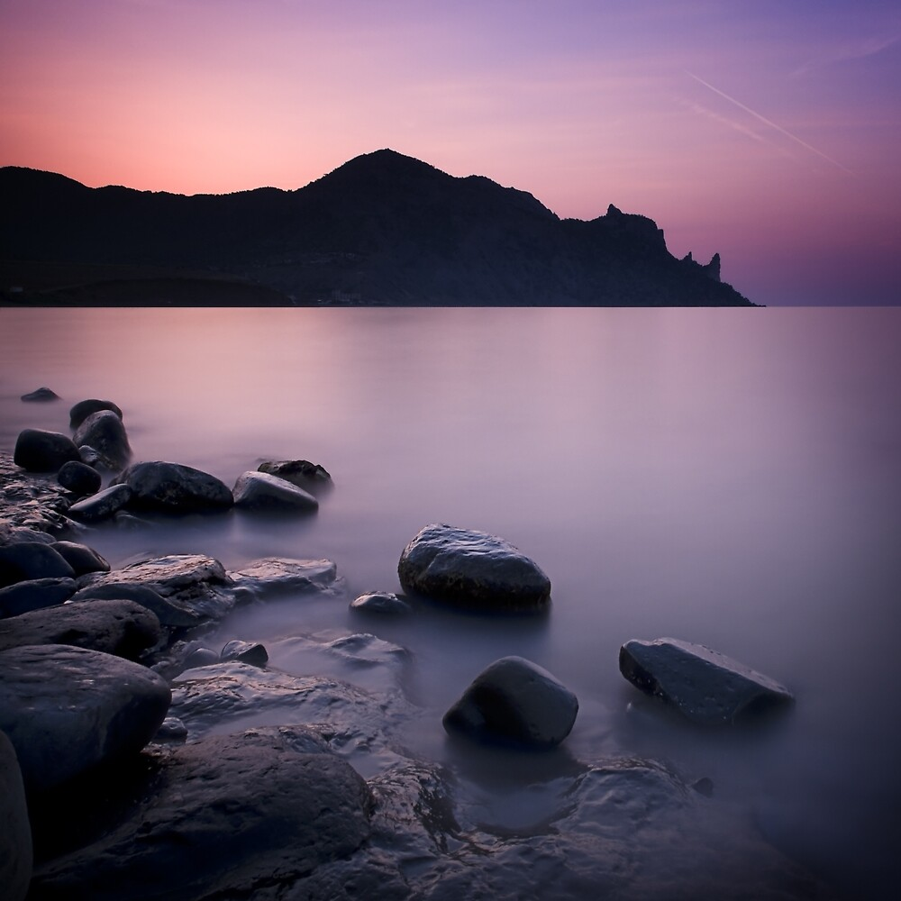 Sunrise above the stones by yurybird