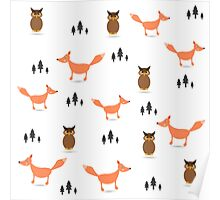 Pattern of forest animals.  Poster