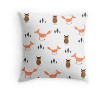 Pattern of forest animals.  Throw Pillow
